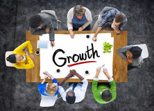 Aerial View of People and Text Growth Stock Photography