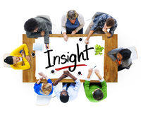 Aerial View with People and Text Insight Stock Photo