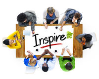 Aerial View with People and Text Inspire Stock Photo