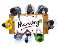 Aerial View with People and Text Marketing.  Stock Photos