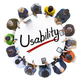 Aerial View of People and Usability Concepts Stock Image