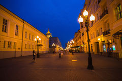 Aerial view people walk by Arbat street at summer evening Stock Photography