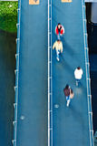 Aerial view of people walking on the walkway Royalty Free Stock Image