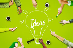 Aerial View People Working Community Ideas Innovation Concept royalty free stock photos