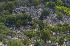 Aerial view of Pere Lachaise Cemetery taken from Montparnasse To Royalty Free Stock Images