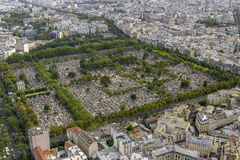 Aerial view of Pere Lachaise Cemetery taken from Montparnasse To Stock Image