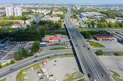 Aerial view on Permyakova street. Tyumen. Russia Royalty Free Stock Photography