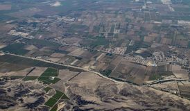 Aerial View of a Peruvian Farms. Not far from Paracas, Peru royalty free stock photography
