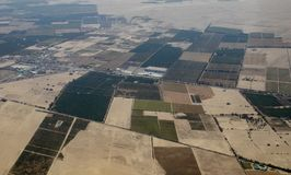 Aerial View of a Peruvian Farms. Not far from Paracas, Peru royalty free stock images