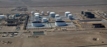 Aerial View of a Peruvian Refinery. Aerial view of a Refinery not far from Paracas, Peru royalty free stock photo
