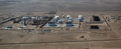 Aerial View of a Peruvian Refinery. Aerial view of a Refinery not far from Paracas, Peru stock photos