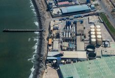 Aerial View of a Peruvian Refinery. Aerial view of a Refinery not far from Paracas, Peru royalty free stock images