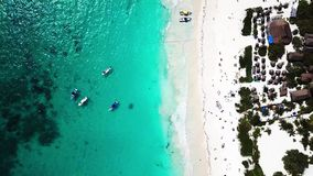Aerial view of Pescadores beach in Tulum stock footage