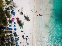 Aerial view of Pescadores beach in Tulum Mexico. North America beach resort stock photo