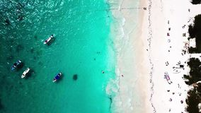 Aerial view of Pescadores beach in Tulum stock video