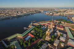 Aerial view of Peter and Paul Fortress. In Saint-Petersburg Royalty Free Stock Photos