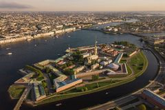 Peter and Paul Fortress in Saint-Petersburg. Aerial view of Peter and Paul Fortress in Saint-Petersburg stock photography