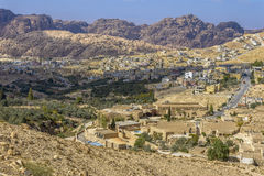 Aerial view of Petra Village Royalty Free Stock Photography