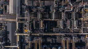 Aerial view petrochemical plant, oil refinery factory.  royalty free stock image