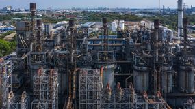 Aerial view petrochemical plant, oil refinery factory.  stock photos