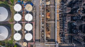 Aerial view petrochemical plant, oil refinery factory.  royalty free stock images