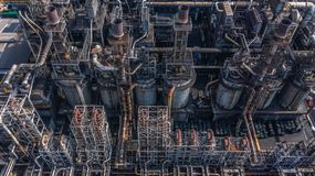 Aerial view petrochemical plant, oil refinery factory.  stock images