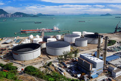 Aerial view of petrol industrial zone. At day stock photos