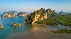 Aerial view of Phang Nga bay Royalty Free Stock Photos