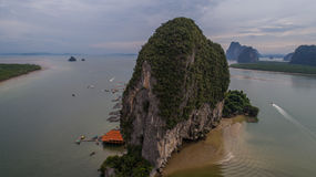 Aerial view Phang Nga Bay Marine National Park protected and of international ecological significance wetlands forestation Stock Photo