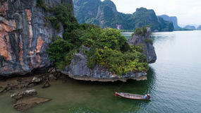 Aerial view Phang Nga Bay Marine National Park protected and of international ecological significance wetlands forestation. Thailand Stock Photos