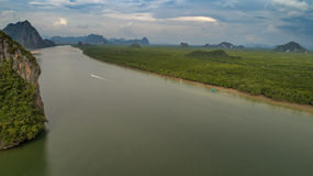 Aerial view Phang Nga Bay Marine National Park protected and of international ecological significance wetlands forestation. Thailand Stock Photography