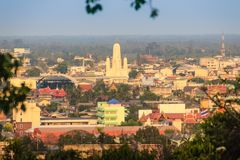 Aerial view of Phetchaburi city with Wat Mahathat Worawihan from. Hills at Wat Khao Bandai It viewpoint, Phetchaburi Province, Thailand Royalty Free Stock Photo