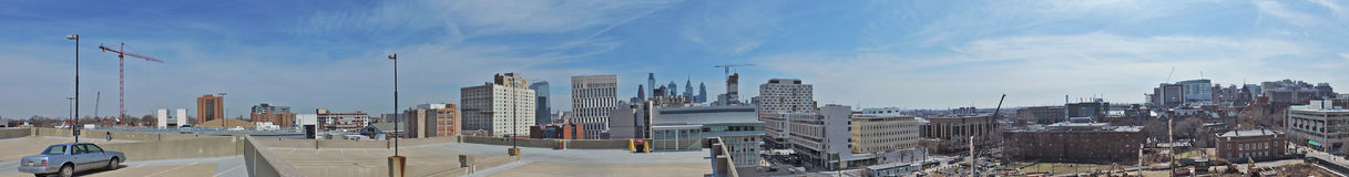 Aerial view of Philadelphia. The downtown Philadelphia, Pennsylvania skyline and U Penn campus from the top of a parking garage Royalty Free Stock Photo
