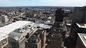An aerial view of Philadelphia near city hall stock video footage