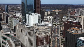 An aerial view of Philadelphia, Pennsylvania with the Museum of Art in the background stock video footage