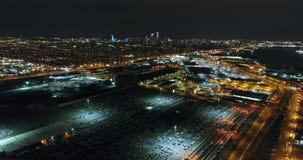 Aerial View Philadelphia Skyline and Surrounding Area Night. Aerial View Philadelphia Skyline and Surrounding Area at Night stock video footage