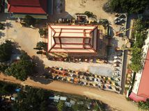 Aerial view of Phnom Krom pagoda royalty free stock images
