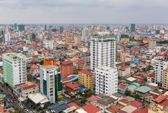 Aerial view of Phnom Penh, Cambodia. Day time Stock Photography