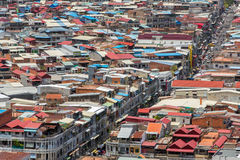 Aerial view of Phnom Penh, Cambodia. Day time Stock Photos