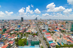 Aerial view of Phnom Penh, Cambodia. Day time Royalty Free Stock Photography