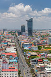 Aerial view of Phnom Penh, Cambodia. Day time. Phnom Penh, Cambodia - March 31, 2017: Aerial view of Phnom Penh, Cambodia. Day time Stock Photography