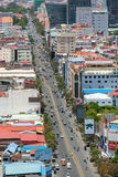 Aerial view of Phnom Penh, Cambodia. Day time. Phnom Penh, Cambodia - March 31, 2017: Aerial view of Phnom Penh, Cambodia. Day time Royalty Free Stock Photography