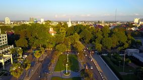 Aerial view of Phnom Penh - Capital of Cambodia stock video footage