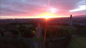 Aerial view. Phoenix park and Wellington Monument. Dublin. Ireland stock footage