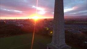 Aerial view. Phoenix park and Wellington Monument. Dublin. Ireland stock video