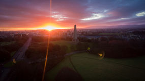 Aerial view. Phoenix park and Wellington Monument. Dublin. Ireland royalty free stock images