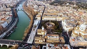 Aerial View Photo of Historic Medieval Rome Cityscape in Italy Stock Photography
