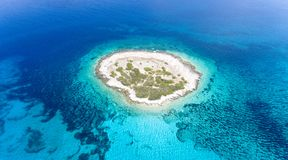 Aerial View Photography of Islet Surround by Body of Water stock photography