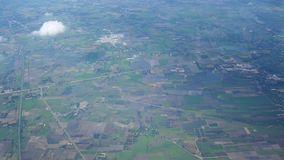 Aerial view of Phrae city from airbus twin propeller takeoff from Phrae Airport stock footage