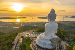 Aerial view Phuket Big Buddha is one of the island most important and revered landmarks on the island. Big Buddha is on the top of high mountain can see around stock photo